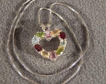 Vintage Sterling Silver Fancy Heart Shaped Multi Oval Amethyst Garnet Peridot Blue Topaz Golden Citrine Pendant Charm Necklace Chain M  **RL