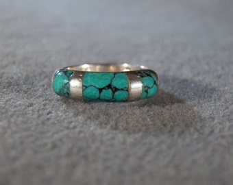 Vintage Sterling Silver Turquoise Band Style Ring, size 5 and a half Jewelry **RL