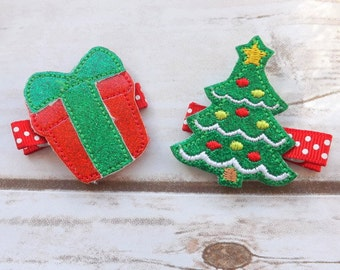 Christmas tree and present glitter hair clip set, Holiday hair clips, christmasi hair accessories, christmas hair clips, UK seller