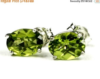 Summer Sale, 30% Off, SE002, Peridot, 925 Sterling Silver Post Earrings