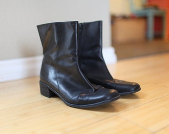 vintage black leather zip up oxford ankle boots womens 8 1/2 *