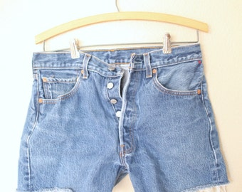 vintage 1980's distressed cut off levis 501 button fly  jean shorts  30