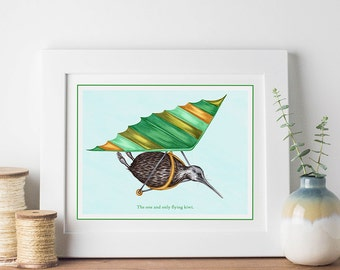 Flying kiwi bird print, hang-gliding kiwi bird print, 5 x 7, 8 x 10 and 11 x 14