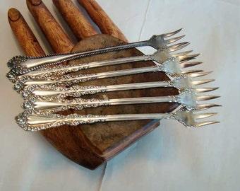 Vintage Rogers appetizer forks, Horderves forks, Rogers appetizer forks, appetizer forks set of 6