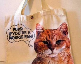 Cat Tote Bag, Canvas tote bag, Morris The Cat canvas Tote bag, Vintage Morris The cat, vintage cat tote bag