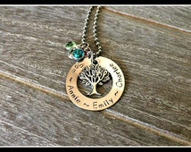 Personalised family birthstone necklace, Tree of Life necklace, Birthday Gift, Gift for Mum, Handstamped Jewellery, Australian Made