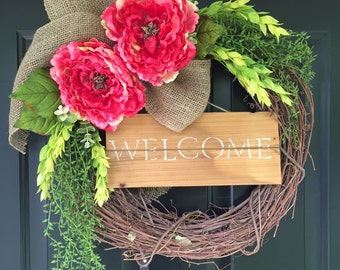 Wreath -Spring Wreath -Summer Wreath -Wreaths -Welcome Wreath - Peony Wreath - Housewarming Gift -Home Decor