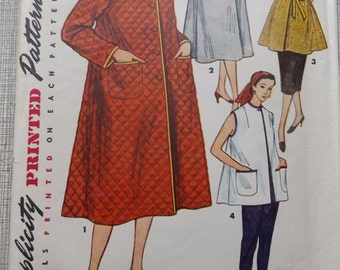 Housecoat, Smock, and Beach Coat in Size 14-1/2 1950s Vintage Simplicity Sewing Pattern 4494 Complete