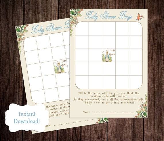 Bingo Baby Shower Game, Printable Peter Rabbit Baby Shower