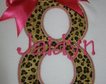 Personalized Girls Leopard / Cheetah Print Birthday Shirt shown here as girls 8th birthday shirt