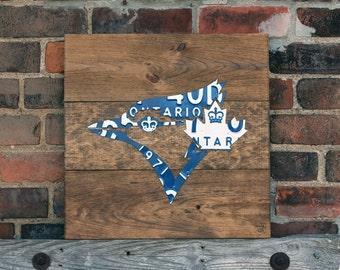 Toronto Blue Jays Art Decor - Handmade Vintage Industrial License Plate Art - Provincial