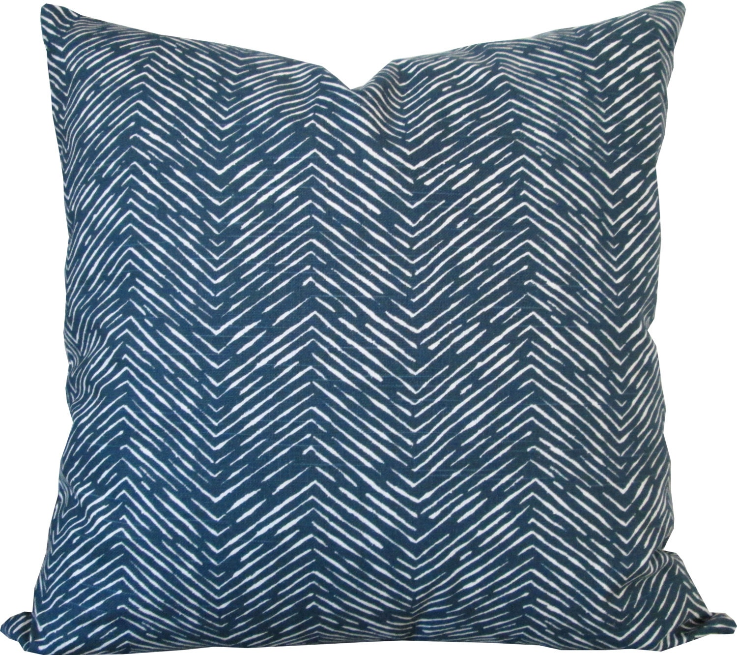 Designer Decorative Pillow Cover-Navy and White Zigzag-Accent