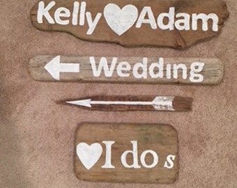 Rustic Wedding signs hand letter on driftwood