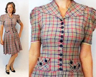 40s Dress / 1940s Dress / 40s Day Dress / 1940s Day Dress / Plaid Dress / Schoolgirl Dress / School Girl Dress / Secretary Dress / Flannel