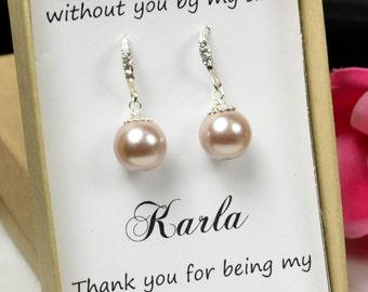 Blush champagne  earrings,Bridesmaid Gift Jewelry Peach Drop Earrings Dangle Earrings Bridal Earrings Bridal Jewelry Wedding Jewelry