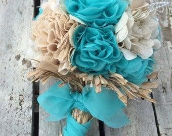 Teal Bouquet, Bridal Bouquet, Wedding Bouquet, Teal Wedding Bouquet, Shabby Rustic Bouquet, Rustic Wedding, Forever Flowers, Fabric Bouquet