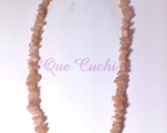 Gold Moon stone chips necklace