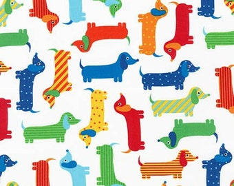 Urban Zoologie Primary Dashchunds by Ann Kelle for Robert Kaufman Fabrics  SKU #AAK-15736-204 PRIMARY