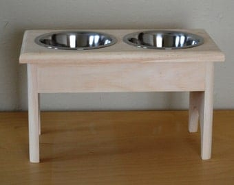 """UNFINISHED RAISED WOODEN Dog Feeder, for Your Medium Size Dog, Elevated 8 1/2"""" with 2 One Quart Stainless Steel Bowls"""