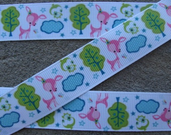 "3 yards Deer Ribbon Grosgrain Ribbon Printed Ribbon 7/8"" ribbon hair bow ribbon craft supplies ribbon by the yard"