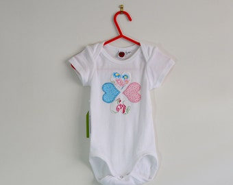 Baby Onesie with heart applique