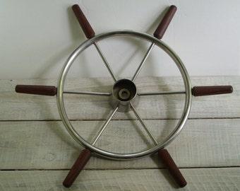 Vintage Ships Wheel ~ Ocean Boat Yacht Steering ~ Maritime Nautical Beach House Decor