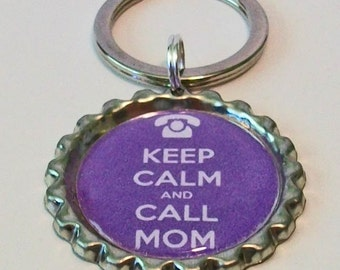 Cute Purple Keep Calm and Call Mom Metal Flattened Bottlecap Keychain Great Gift