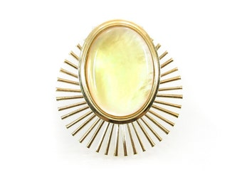 Vintage Yellow Lucite Brooch, Spray, Gold Tone