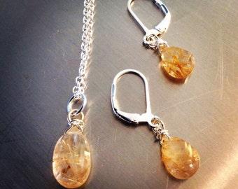 Golden Rutilated Quartz Briolette Earrings and Pendant Set