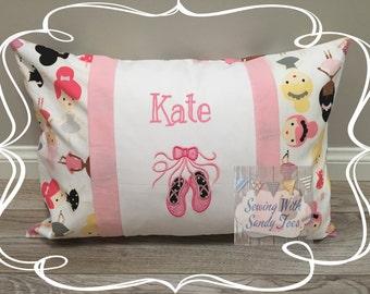 Kids pillow, Ballet, Ballerina Travel Pillow case, Personalized Ballet , Ballerina Pillow Cover, Ballet Pillow Cover, Girls Bedding