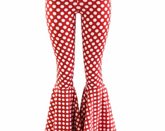 Minnie Polka Dotted Red and White Bell Bottom Flares Leggings with High Waist & Stretchy Spandex Fit  152812