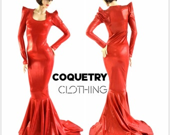 Devil Red Holographic Sharp Shoulder Gown  with Scoop Neckline, Long Sleeves and Puddle Train   153920