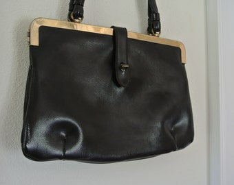 1950s ETRA Leather Shoulder Bag Black Retro Purse