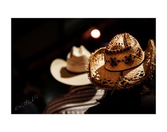 His and Hers Fine Art Photography Cowboy Cowgirl Hats Rustic home decor Ranch house chic Texas Rodeo Country Western dramatic lighting night
