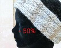 SALE - 50% Beige brown light blue braided headband / Handmade headband / Knitted headband / Cable headband / Made in France