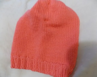 Handknit orange slouchy hat