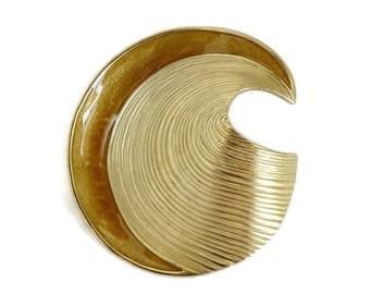 Vintage Trifari Swirl Brooch, Gold Tone & Enamel Wave Pin