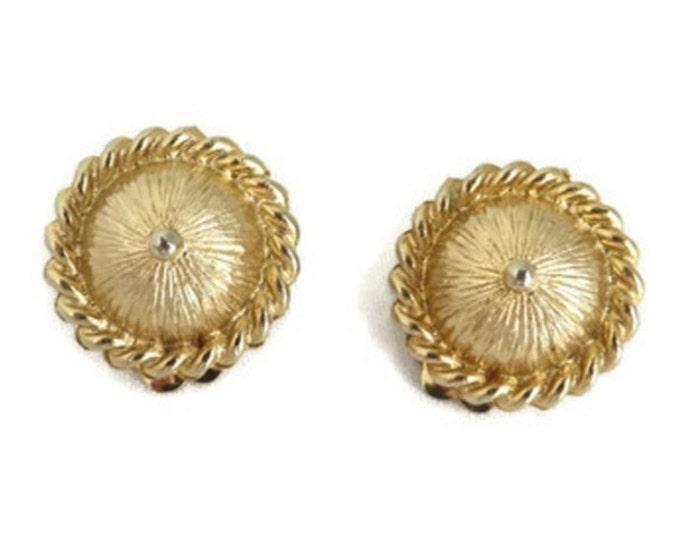 Coro Domed Button Earrings, Vintage Gold Tone Designer Clip-on Earrings, Gift for Her