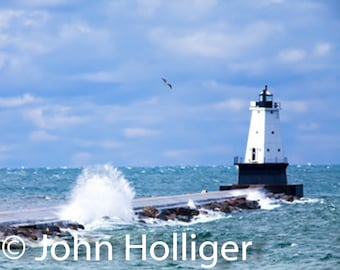 Michigan Beaches Photography, Ludington North Breakwater Lighthouse, Stearns Beach, Lake Michigan, Great Lakes, Wall Art Decor Pictures