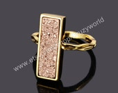 Pretty Gold Plated Bezel Rectangle Rose Gold Natural Agate Titanium Druzy Ring Golden Ring Brilliant Drusy Gemstone Geode Jewelry ZG011