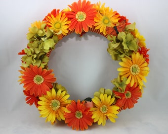 "12"" Yellow & Orange Sunflower Wreath"
