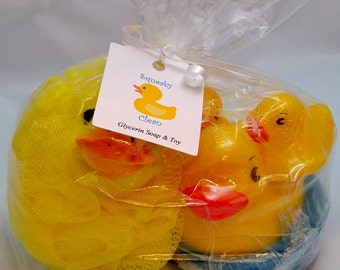 Squeaky Clean Kids Soap with Ducky Toys and Bath Pouf