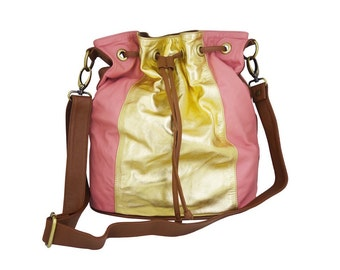 "Bag purse ""Boho"" leather lamb Pink & Gold"