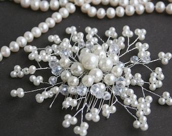 Pearl Wedding Hair Comb Crystal Bridal Hair Comb Pearl Hair comb Rhinestone Hair Comb Bridal Hair accessories Wedding hair accessories