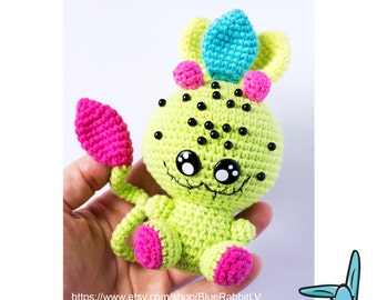 Green Leaf Monster from the Magic Forest - crochet amigurumi toy.