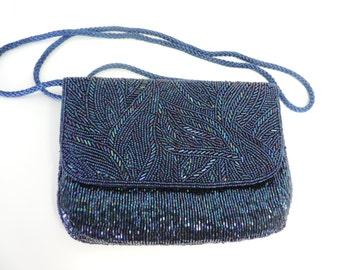 Blue ,Purple, and Green Beaded Stunning Evening Shoulder Bag