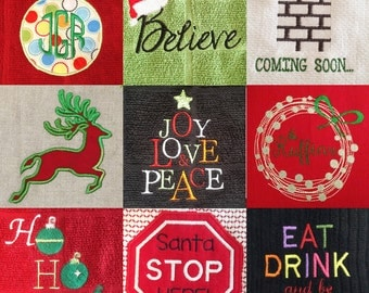A big set of modern Christmas machine embroidery and appliqué designs: 40 different sizes and styles included.