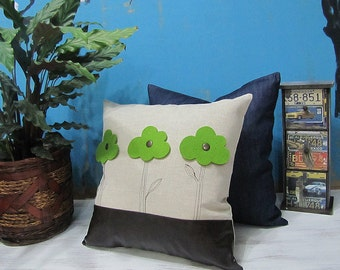 Cream Canvas Pillow Cover with Three Felt Trees