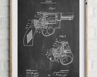 Smith and Wesson Revolver Pistol, Pistol Prints, Gun Art, Gun Enthusiast, PP1044