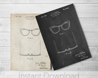 Eye Glasses Printables, Optometry Gift, Doctor Office Decor, Fashion Illustration, Boutique Decor, PP0541